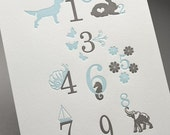 Blue Numbers Numbers Letterpress Print - Limited Edition