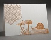 Mushroom Snail Geometry - Letterpress