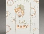 Hello Baby Owl - Letterpress Card