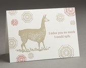 Llama Spit - I Miss You - Letterpress Greeting Card