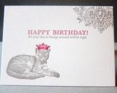 Regal Bday Cat - Letterpress Greeting Card