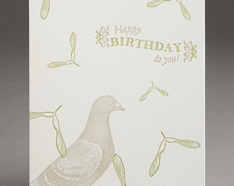 Seed Pod Birthday Pigeon - Letterpress Card