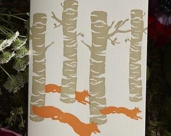 Birch Foxes - Letterpress Card