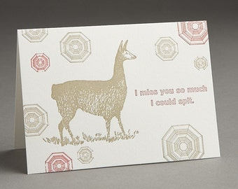Llama Spit - I Miss You - Letterpress Greeting Card