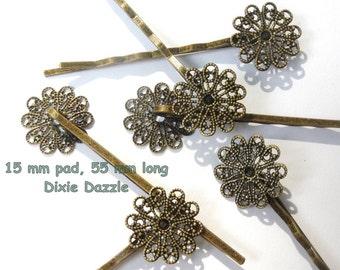 20 pcs vintage style 15 mm filigree hairpins Bobbypins, Bobby Pins, Bobbipins R1