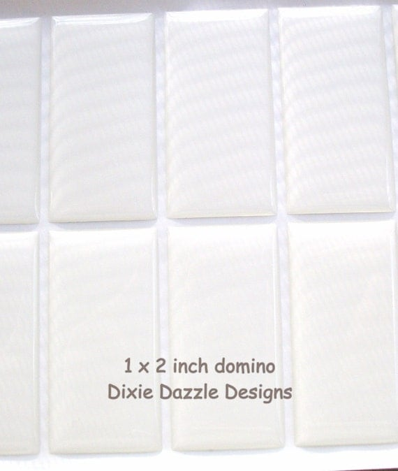 20 1x2 inch (25x50mm) DOMINO size clear epoxy stickers, domed cover cabochon for pendant jewelry