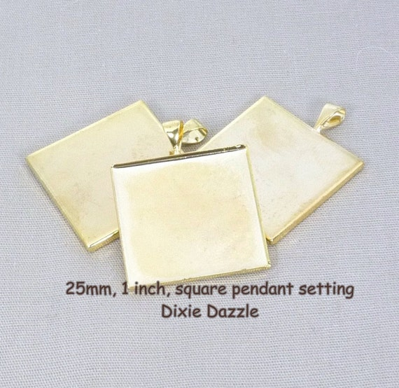 25 1 inch, 25 mm SQUARE gold plated bezel pendant trays for jewelry making