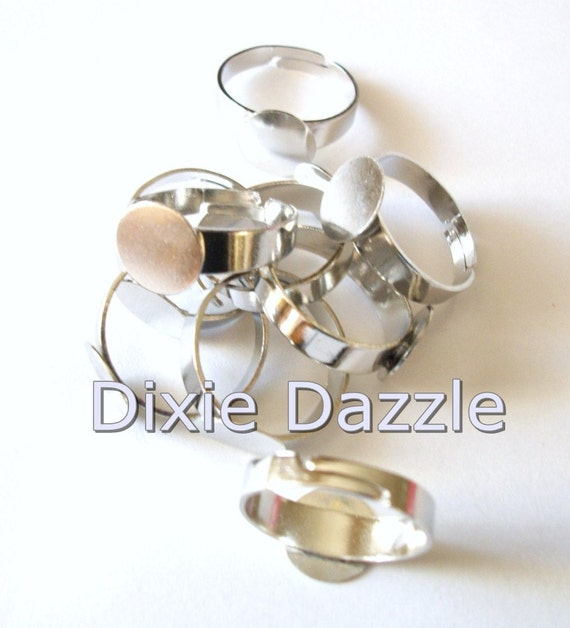 20  pcs Silver tone adjustable ring blank findings with glue pad