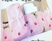 SALE Diaper and Wipe Cozy\/Case Set - Pink Dragonflies and Ladybugs