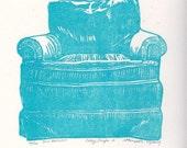 Linocut Linoleum Cut Blue Green Chair Sofa