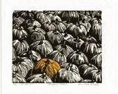 Linocut Linoleum Cut Print of a Pumpkin Patch Originally 20 now only 10 dollars