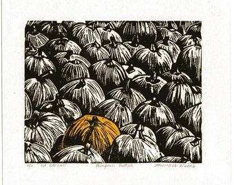 Linocut print, Relief print, Wood cut print, Original print, Pumpkin Patch, Sale