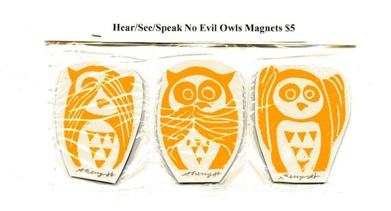 Linoleum Cut Linocut Orange See, Hear, Speak No Evil Owletts Magnets