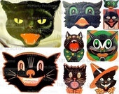 Halloween BLACK CATS digital collage sheet vintage reproductions atc aceo mixed media soldered art supply .866