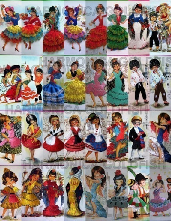 DANCINg SPANiSH GUYs ANd dOLLS COLLAGE SHEET CoLORFUL CtTE aND FUN .009