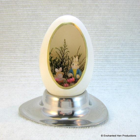 Goose Egg Easter Garden Bunnies diorama egg art on display stand, grandfather