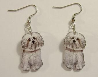 Handcrafted Plastic 2 Dimensional Havenese Dog Dangle Earrings Keyring