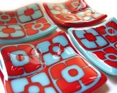 Turquoise and Red mini fused glass flower plate set