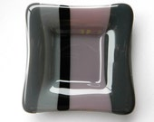 Lavender Black and Grey Stripes fused glass mini plate
