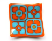 Orange and Turquoise mod flowers fused glass mini plate