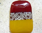 Curry and Paprika fused glass pendant