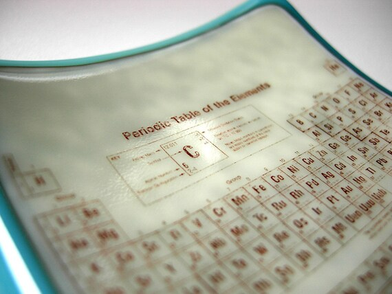 Periodic Table of the Elements turquoise fused glass mini plate