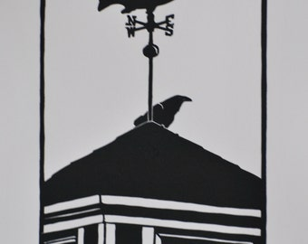 Alaska Roof / Raven & Salmon Weather Vane / Original art / relief woodcut print / by Diane Cutter / SFA