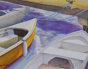 Isleta Dinghies reproduction of original watercolor by Diane Cutter