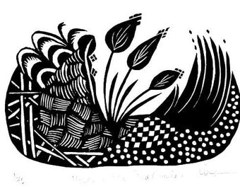 Moses in the Bulrushes / Linocut / Hand-pulled print Original Art / by Diane Cutter / matted 9x12 / SFA