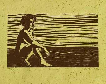 Original Art / Female Nude / Linocut Relief Print / by Diane Cutter / SFA