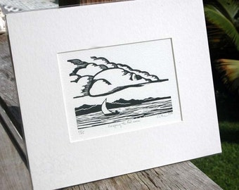 Original WOODCUT / Sailboat and Clouds / MATTED ready for 8x10 frame / by Diane Cutter / SFA