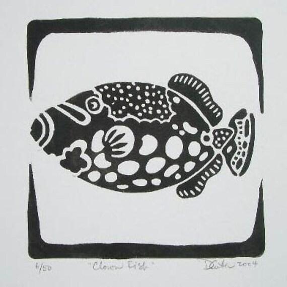 Clownfish Linocut