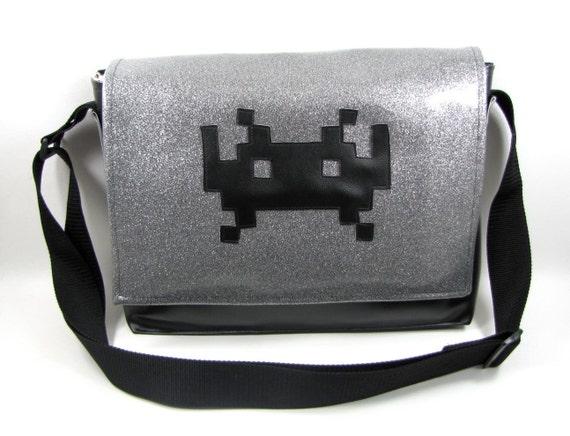 Space Invader Vinyl Messenger Bag