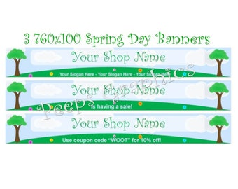 Shop Banner Set - 3 Spring Day Banner Designs