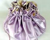 Wedding Bag,Satin Bridal Money Purse,  Lavender and Champagne,  No Pockets, Extreme  Sized