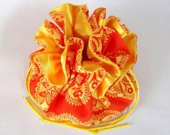 Jewelry  Drawstring Travel Tote, Pouch, Large, Gypsy Bandana Moon Tonal Kaleidoscope in Orange