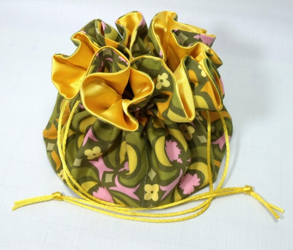 Jewelry Travel Tote--Drawstring Pouch--Amy Butler Garden Maze Olive--Large