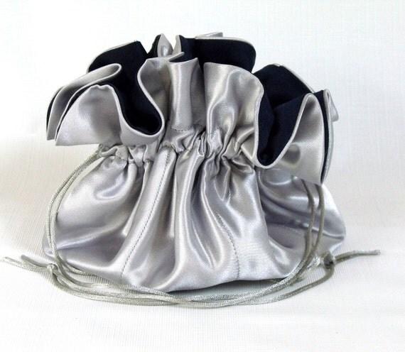 CUSTOM ORDER Satin Bridal Purse--Drawstring Pouch---Silver Gray and Navy Blue