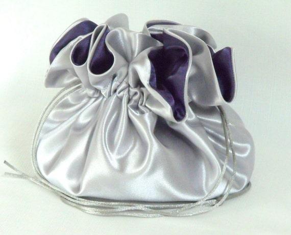 Wedding Bag...Satin Bridal Money Purse..Silver and Eggplant...No Pockets