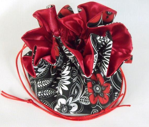 Jewelry Drawstring Bag  Black White-Red White  Large