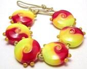 Flame Kissed Lampwork Beads - Handmade Lampwork Glass 18mm Lentils - Yellows, Orange, Reds - SRA (Set of 6 Beads)