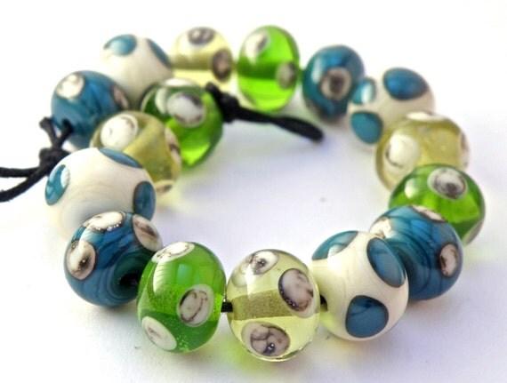ON SALE Mermaid Jewels Polka Dots Handmade Lampwork Glass Beads - Greens, Blues, Ivory, Organic - SRA (Set of 16 Beads)