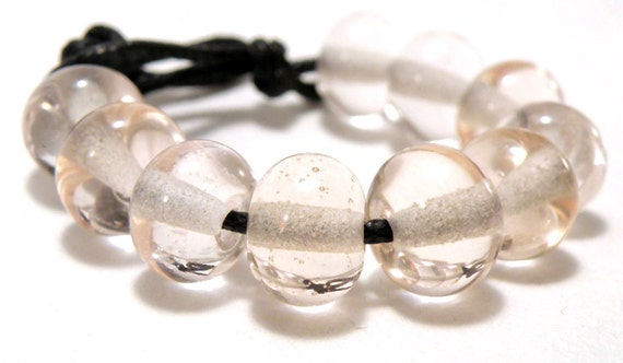 Transparent Pale Rose Handmade Lampwork Spacers - Lampwork Glass Spacer Beads 5mmx9mm -  SRA (Set of 10 Beads)