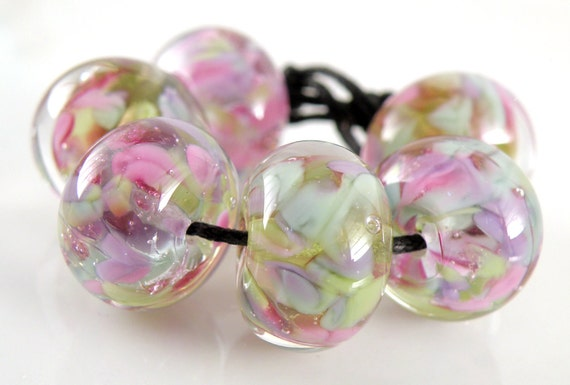 Song Bird Encased Lampwork Glass Rounds - Handmade Lampwork Beads - Purples, Pinks, Greens, Pastels - SRA (Set of 6 Beads)