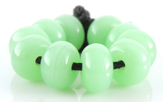 Opalino Nile Green Spacers - Handmade Lampwork Glass Beads - 5mmx9mm SRA (Set of 10 Spacer Beads)