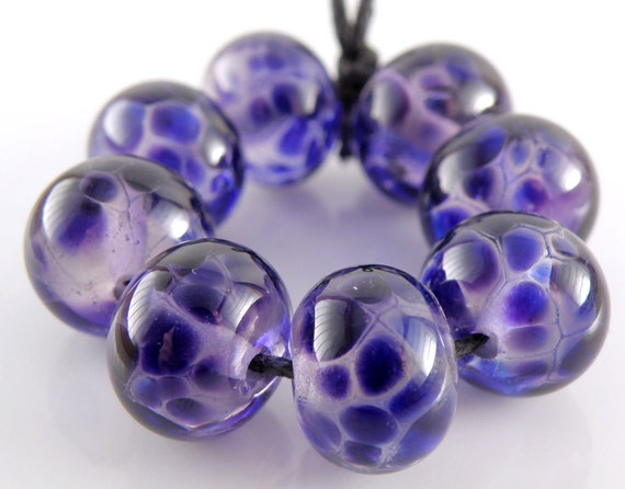 Hyacinth Violet on Purple Transparent - Handmade Lampwork Glass Round Beads 8mmx12mm - Blues, Purples - SRA (Set of 8 Beads)