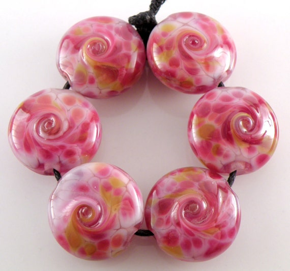 Tropical Punch - Lampwork Beads - Handmade Artisan Lampwork Glass 18mm Lentils -  Pink, Purple - SRA (Set of 6 Beads)