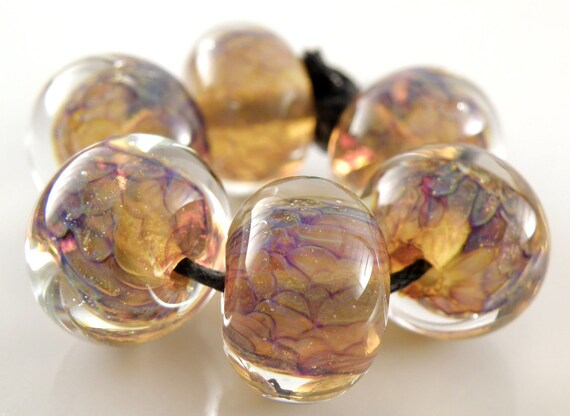 Encased Mystique - Lampwork Glass Rounds - Handmade Lampwork Beads - Organic, Blue, Brown, Gold, Amber - SRA (Set of 6 Beads)