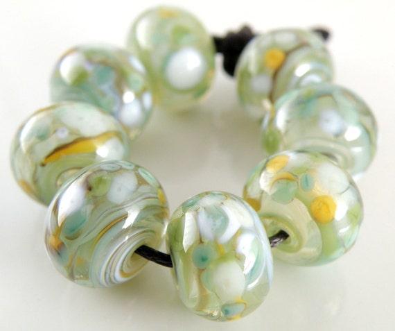 Koi Pond Swirls - Handmade Artisan Lampwork Glass Beads 8mmx12mm - Blue, Green, White, Orange - SRA (Set of 8 Beads)