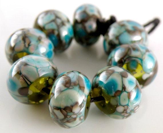 Rockin' Turquoise Rounds - Handmade Artisan Lampwork Glass Beads 8mmx12mm- Turquoise, Green, Blue - SRA (Set of 8 Beads)